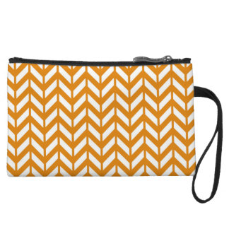Burnt Orange Chevron 4 Wristlet