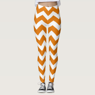 Burnt Orange Chevron Pattern Leggings