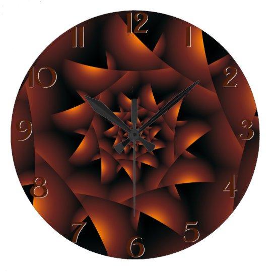 Burnt Orange Dark Spiral Fractal Wall Clock