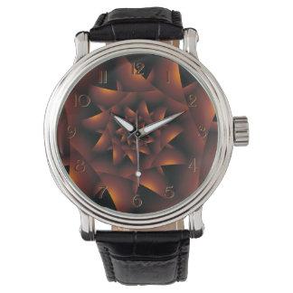 Burnt Orange Dark Spiral Fractal Watch