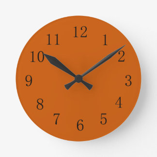 Burnt Orange Earth Tone Kitchen Wall Clock