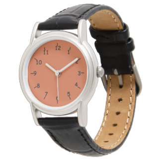 Burnt Orange Face Classic Black Leather Wrist Watches