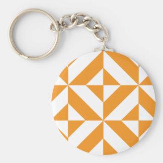 Burnt Orange Geometric Deco Cube Pattern Keychains