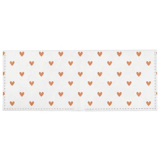 Burnt Orange Glitter Hearts Pattern Billfold Wallet