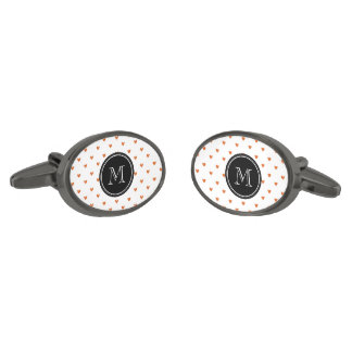 Burnt Orange Glitter Hearts Pattern Gunmetal Finish Cuff Links