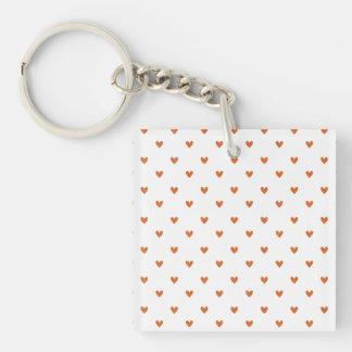 Burnt Orange Glitter Hearts Pattern Square Acrylic Key Chains