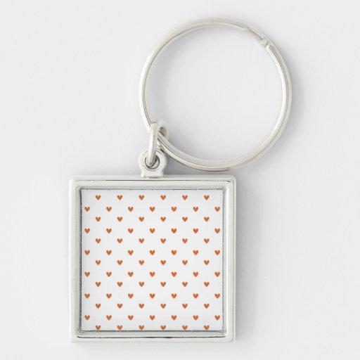 Burnt Orange Glitter Hearts Pattern Keychain