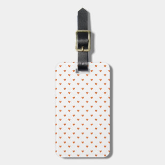 Burnt Orange Glitter Hearts Pattern Tag For Luggage