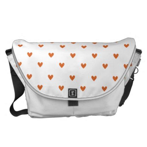 Burnt Orange Glitter Hearts Pattern Messenger Bags