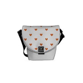 Burnt Orange Glitter Hearts Pattern Courier Bag
