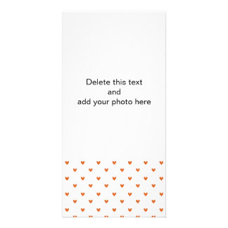 Burnt Orange Glitter Hearts Pattern Personalized Photo Card