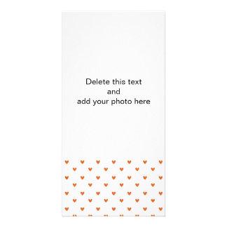 Burnt Orange Glitter Hearts Pattern Personalized Photo Card