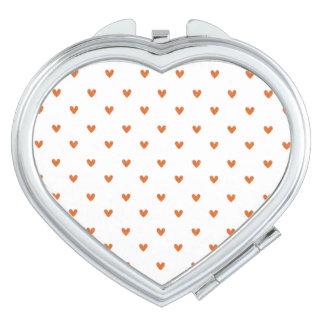 Burnt Orange Glitter Hearts Pattern Travel Mirrors