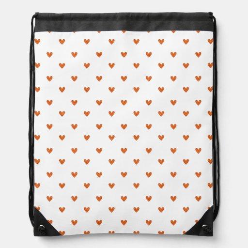 Burnt Orange Glitter Hearts Pattern Cinch Bag