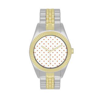 Burnt Orange Glitter Hearts Pattern Wrist Watches