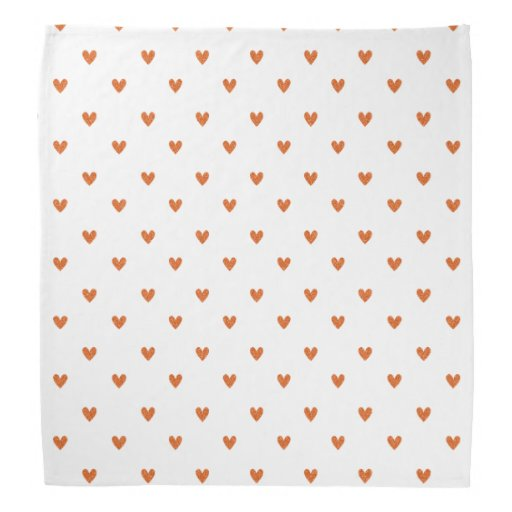 Burnt Orange Glitter Hearts Pattern Bandana