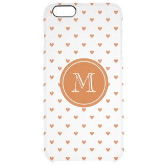Burnt Orange Glitter Hearts with Monogram Clear iPhone 6 Plus Case