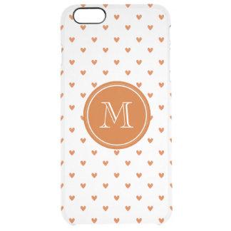 Burnt Orange Glitter Hearts with Monogram Clear iPhone 6 Plus Case