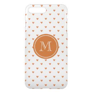 Burnt Orange Glitter Hearts with Monogram iPhone 7 Plus Case
