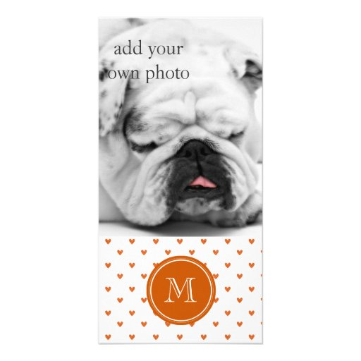 Burnt Orange Glitter Hearts with Monogram Photo Card Template