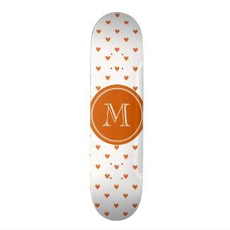 Burnt Orange Glitter Hearts with Monogram Skate Board Decks