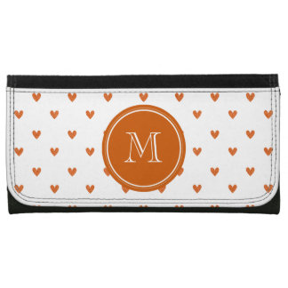 Burnt Orange Glitter Hearts with Monogram Wallet