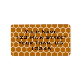 Burnt Orange Hexagon 1 Address Label