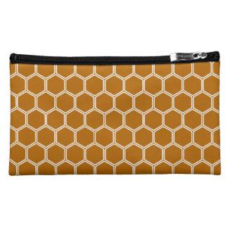 Burnt Orange Hexagon 1 Cosmetic Bags
