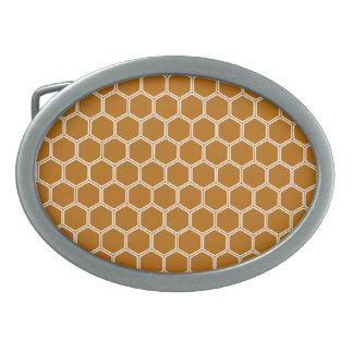 Burnt Orange Hexagon 1 Oval Belt Buckle