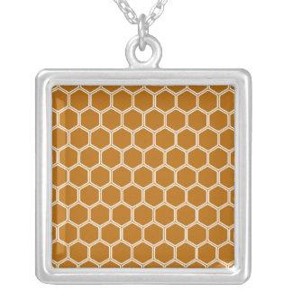 Burnt Orange Hexagon 1 Square Pendant Necklace