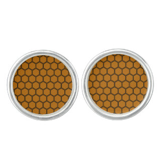 Burnt Orange Hexagon 3 Cuff Links