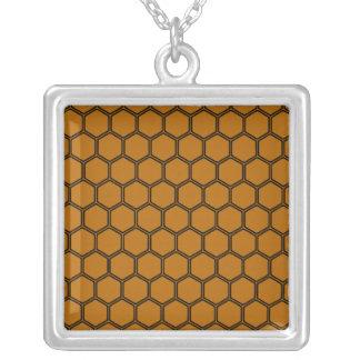 Burnt Orange Hexagon 3 Square Pendant Necklace