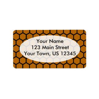 Burnt Orange Hexagon 4 Address Label
