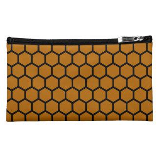 Burnt Orange Hexagon 4 Cosmetics Bags