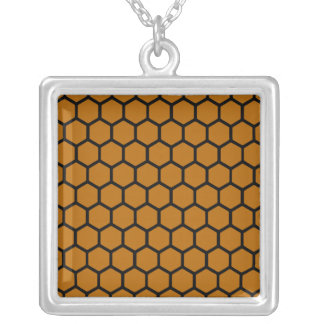 Burnt Orange Hexagon 4 Square Pendant Necklace