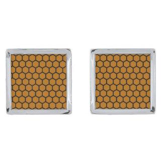 Burnt Orange Hexagon 4 Silver Finish Cuff Links