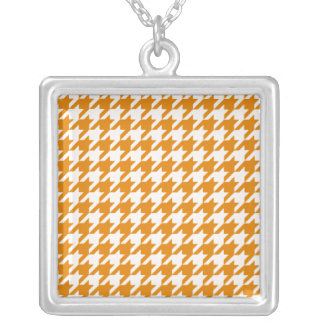 Burnt Orange Houndstooth 1 Square Pendant Necklace