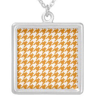 Burnt Orange Houndstooth 1 Square Pendant Necklace