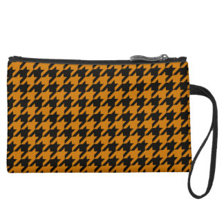Burnt Orange Houndstooth 2 Wristlet Clutch