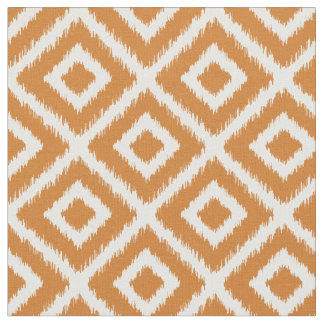 Burnt Orange Ikat Diamonds Fabric