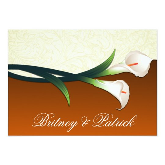 Burnt Orange Ivory Calla Lily Wedding Invitations