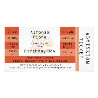 Burnt Orange Movie Night Admission Ticket Invite Picture Card