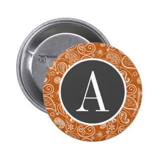 Burnt Orange Paisley; Floral 6 Cm Round Badge
