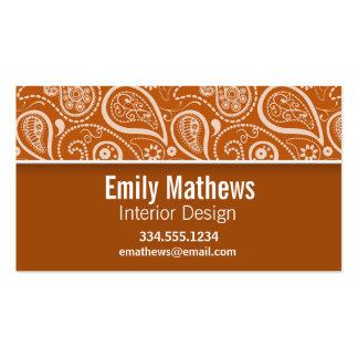 Burnt Orange Paisley; Floral Business Cards