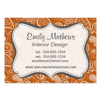 Burnt Orange Paisley; Floral Business Card Template