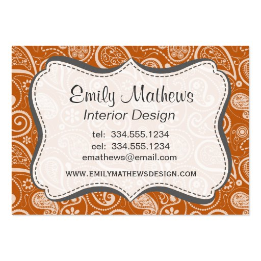 Burnt Orange Paisley; Floral Business Card Template