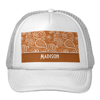 Burnt Orange Paisley; Floral Trucker Hat
