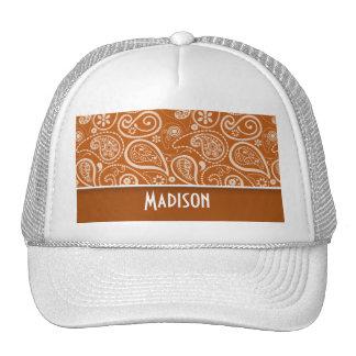 Burnt Orange Paisley; Floral Mesh Hat