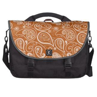 Burnt Orange Paisley Floral Bags For Laptop