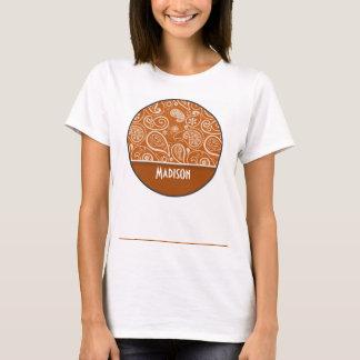 Burnt Orange Paisley; Floral T-Shirt